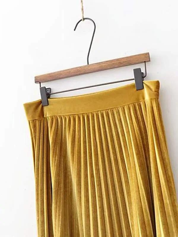 Solid Pleated Velvet Skirt
