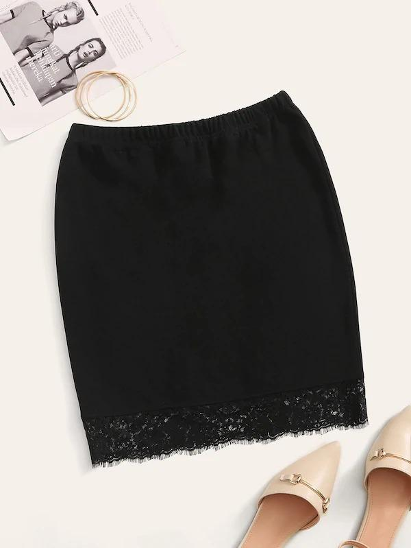 Solid Raw Hem Lace Trim Skirt