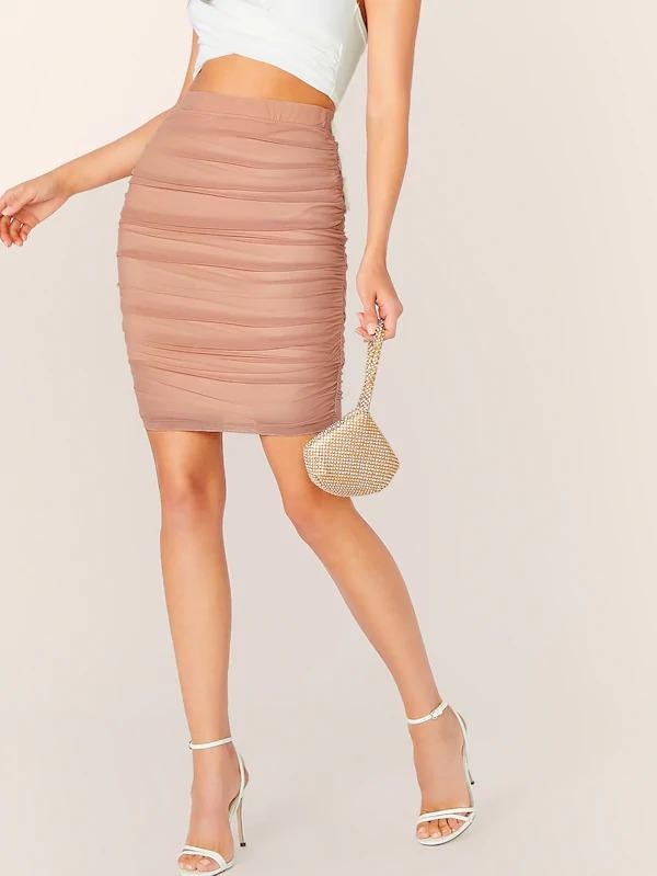 Solid Ruched Detail Pencil Skirt