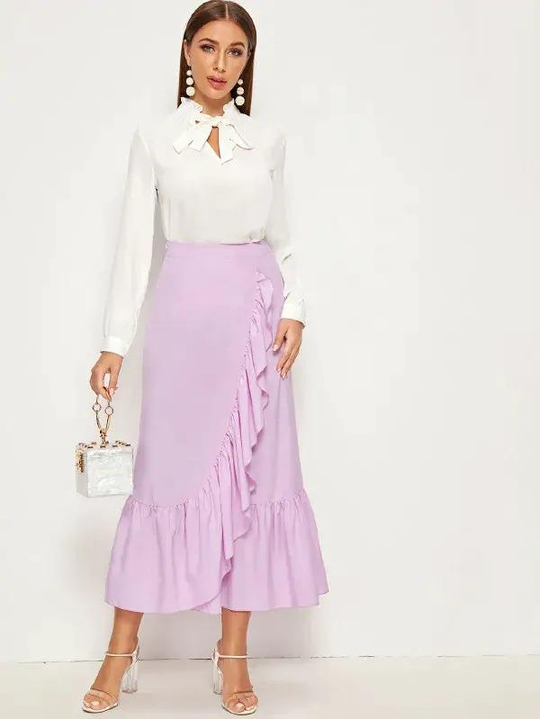 Solid Ruffle Trim Skirt