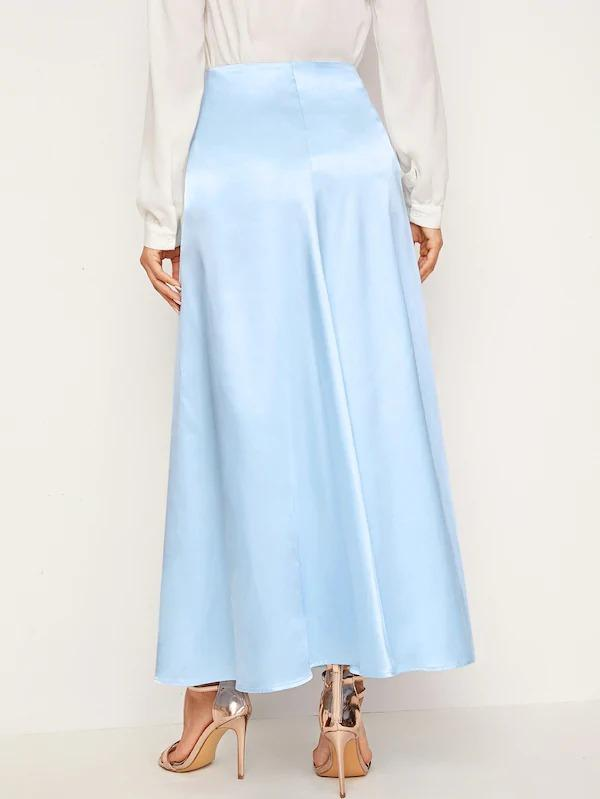 Solid Satin Swing Skirt