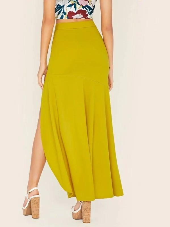 Solid Split Asymmetrical Hem Skirt