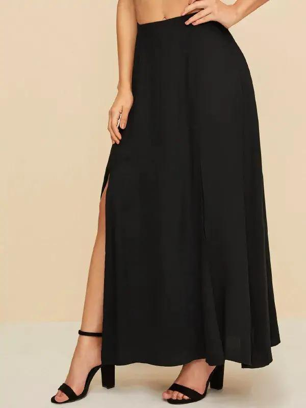 Solid Split Thigh Skirt