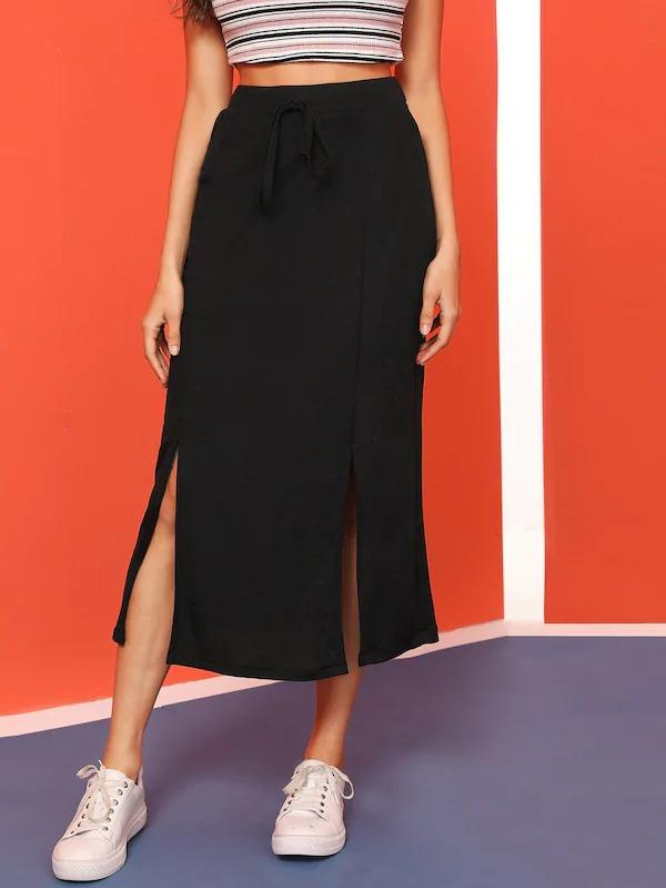Solid Split Tie Front Skirt