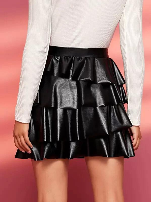 Solid Tiered Layered PU Skirt