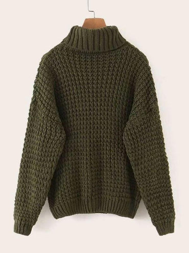 Solid Turtleneck Cable Knit Jumper