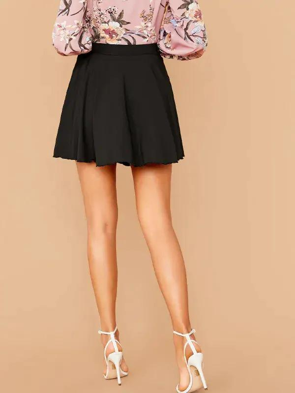 Solid Wrap Tie Side Skater Skirt
