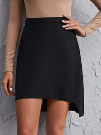 Women Solid Asymmetrical Hem Skirt