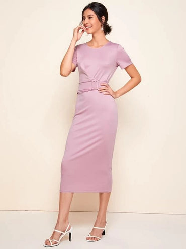 Women Solid Belted Bodycon Dress