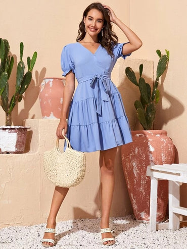 Women Solid Belted Surplice Flounce Hem Dress