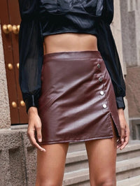 Women Solid Button Front Split PU Leather Skirt
