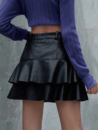 Women Solid Button Front Tiered Layer Skirt
