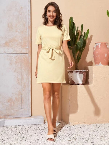 Women Solid Fitted Dress With Belt