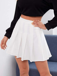 Women Solid High Waist Pleated Skirt