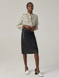 Women Solid PU Leather Paneled Skirt
