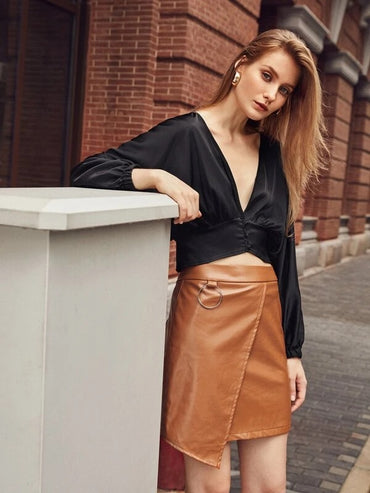 Women Solid PU Leather Wrap Skirt
