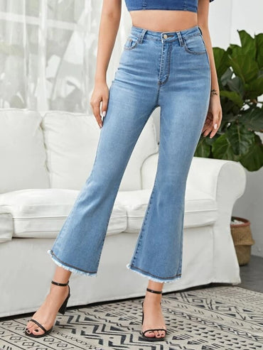 Women Solid Raw Hem Flare Leg Jeans