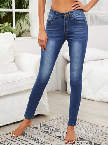 Women Solid Ripped Skinny Jeans