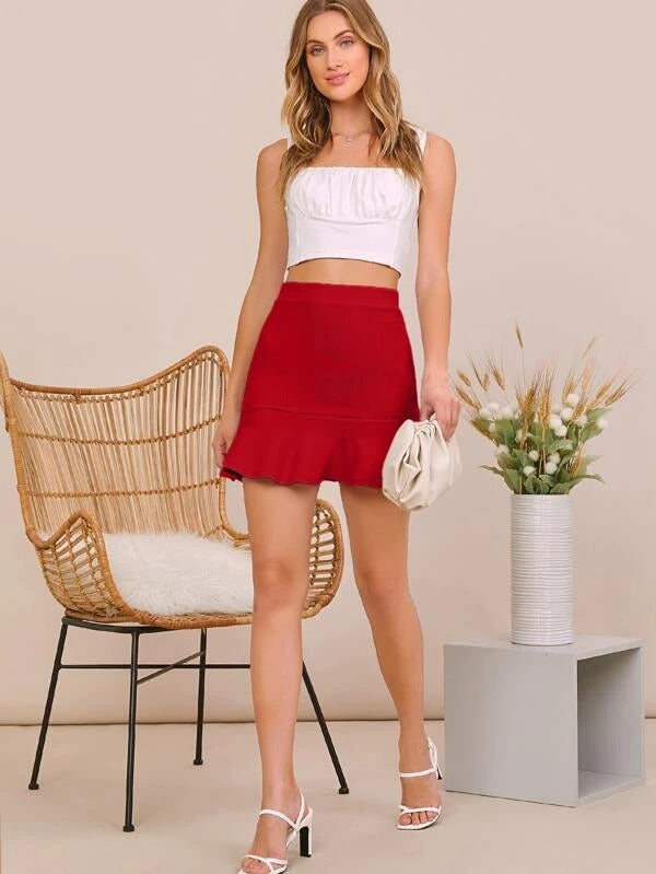 Women Solid Ruffle Hem Skirt