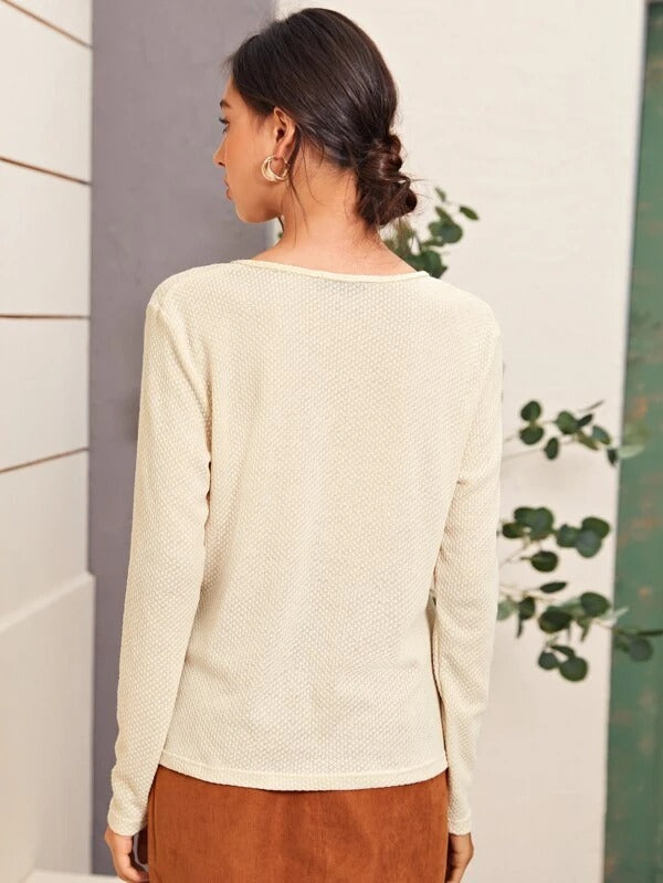 Women Solid Twist Cable Knit V-Neck Tee