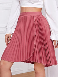 Women Solid Wrap Pleated Skirt