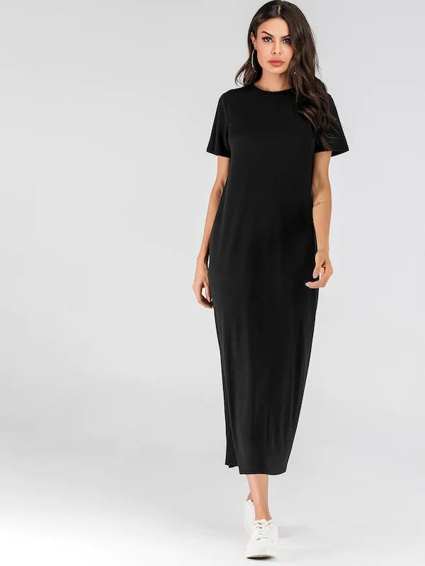 Solid Asymmetrical Neck Tee Dress