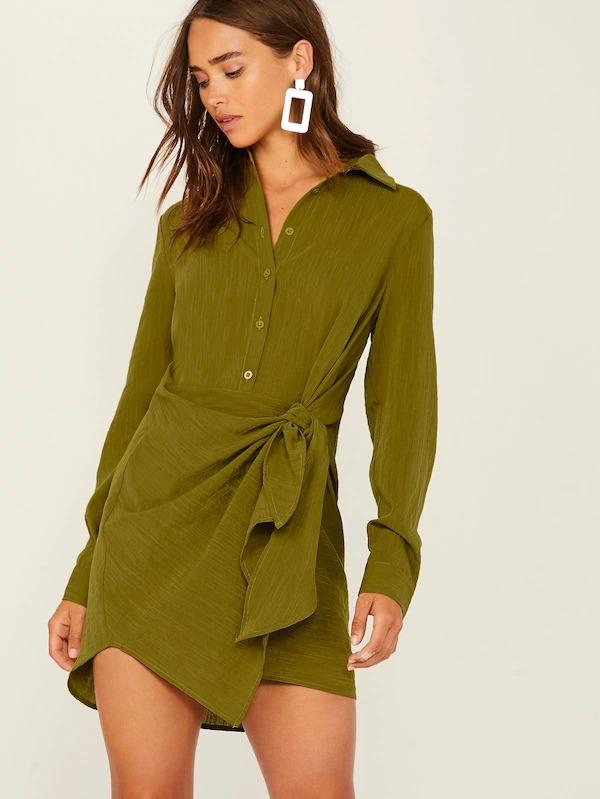 Solid Asymmetrical Wrap Knotted Shirt Dress