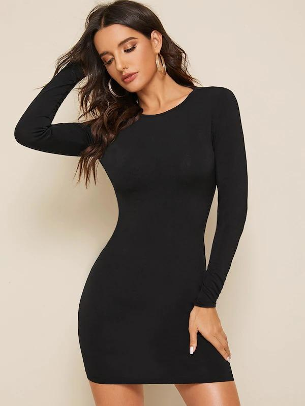 Solid Backless Pencil Dress