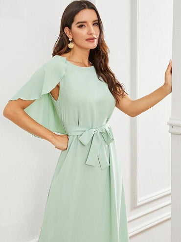 Solid Belted Cape Dress