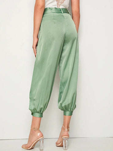 Solid Belted Satin Tapered Pants