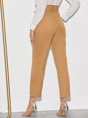 Women Solid Belted Straight Leg Crop Pants