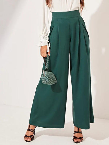 Solid Boxy Pleated Wide Leg Pants