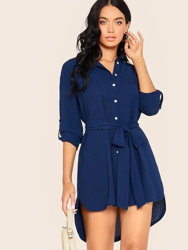 Solid Button Front High Low Hem Belted Dress