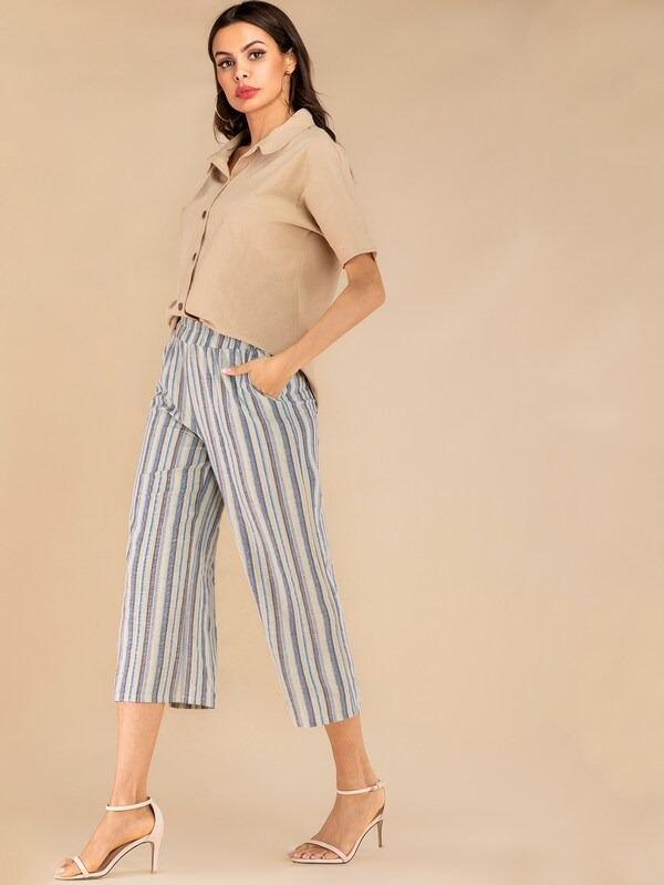 Solid Button Front Shirt & Striped Wide Leg Pants Set