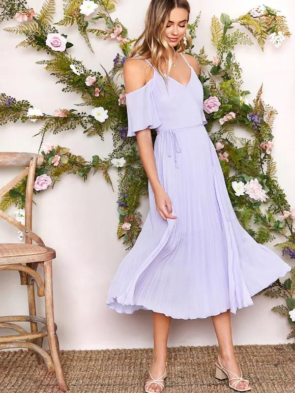 Solid Cold Shoulder Pleated Belted Dress