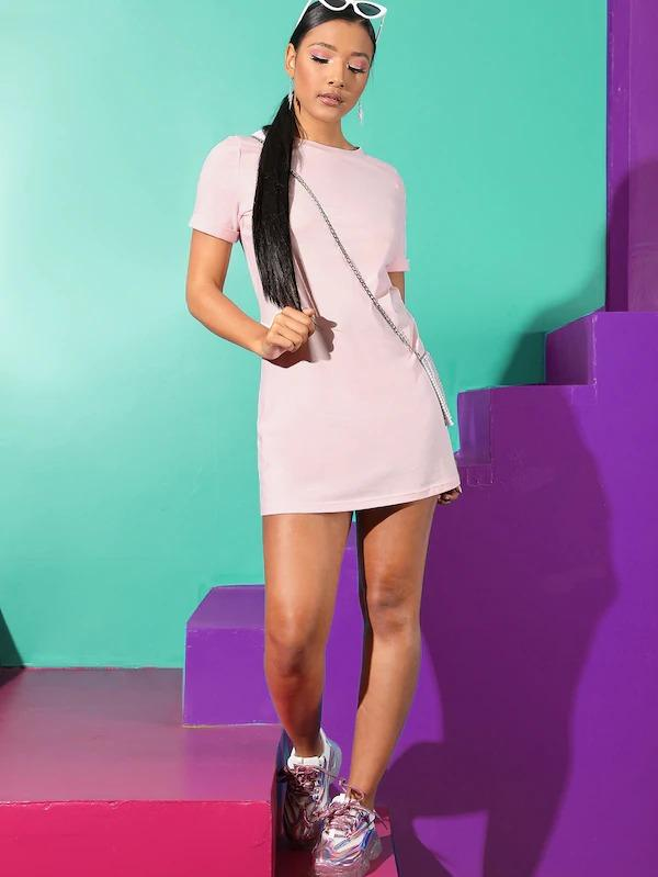 Solid Cuffed Short Sleeve Tee Dress