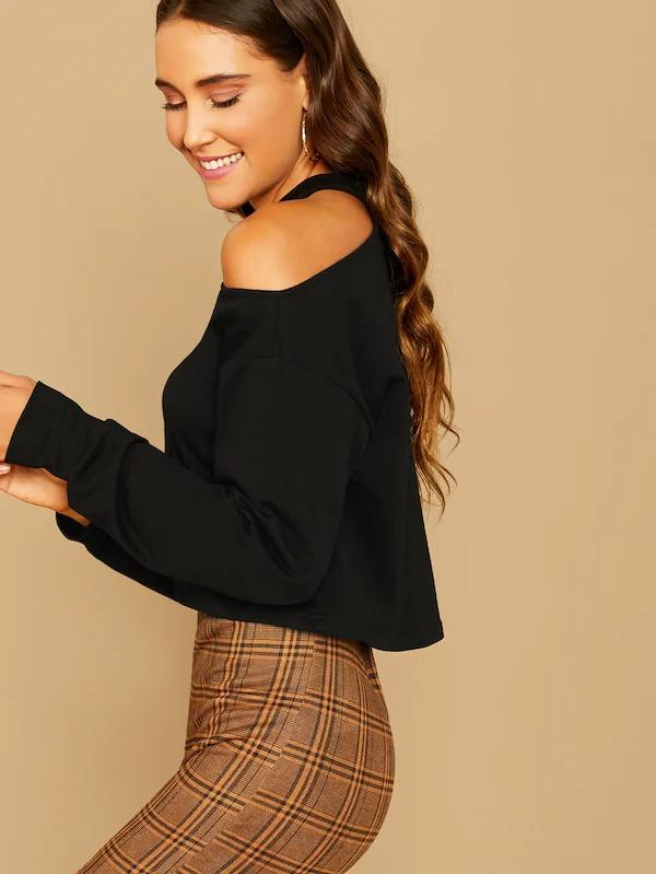 Solid Drop Shoulder Cut Out Pullover
