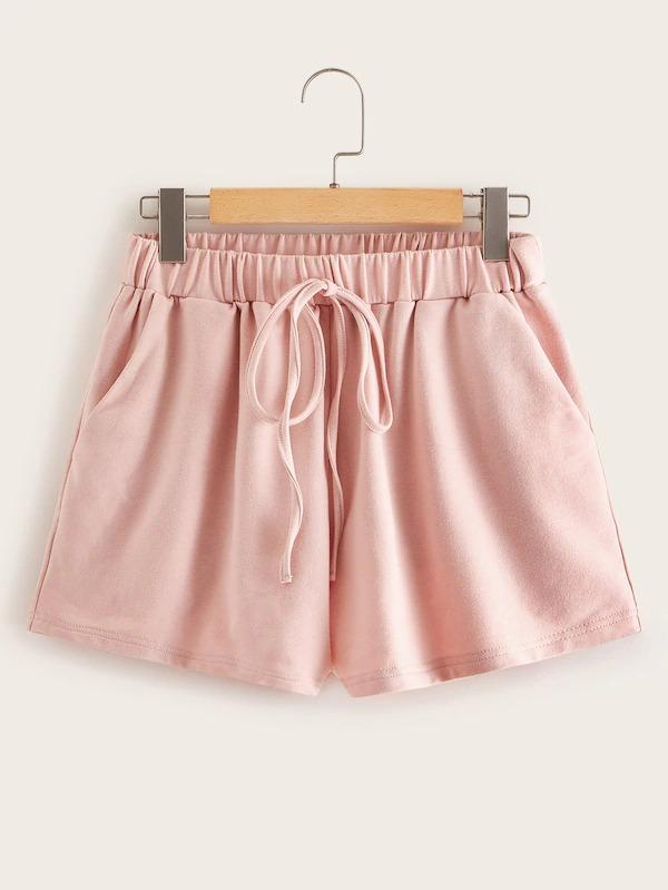 Solid Drop Shoulder Pullover & Drawstring Shorts Set