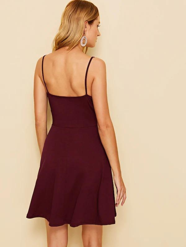 Solid Fit And Flare Slip Dress