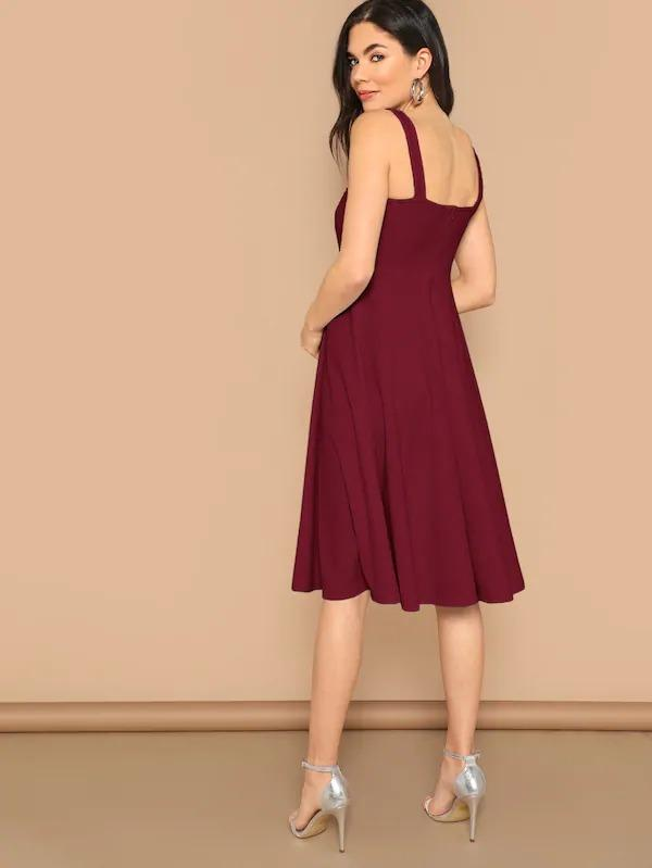 Solid Fit And Flare Tank Dress