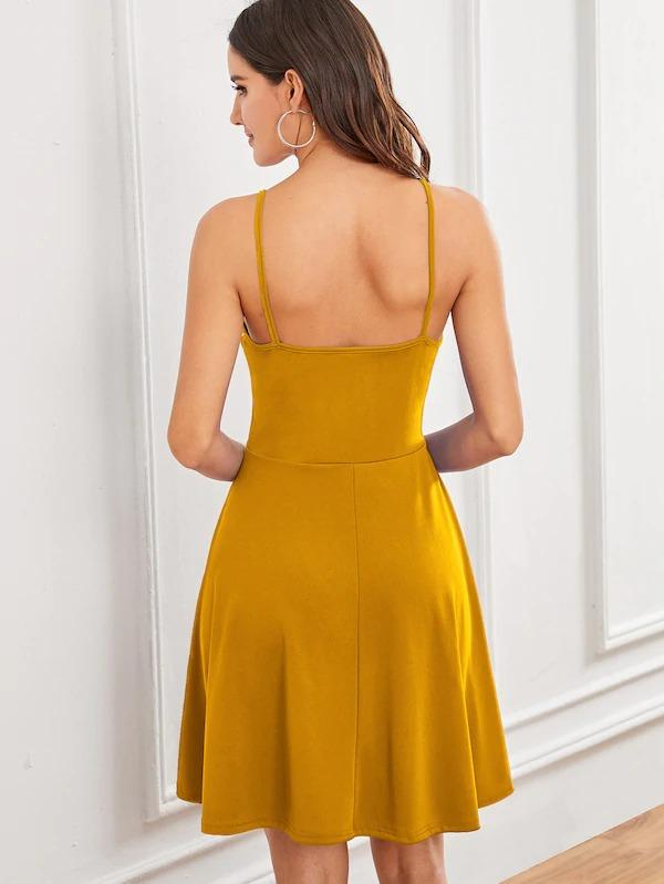 Solid Fit & Flare Slip Dress