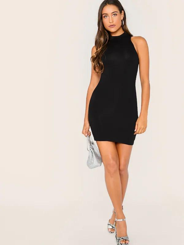 Solid Form Fitted Tank Dress