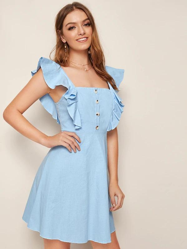 Solid Frill Trim Button Front Dress