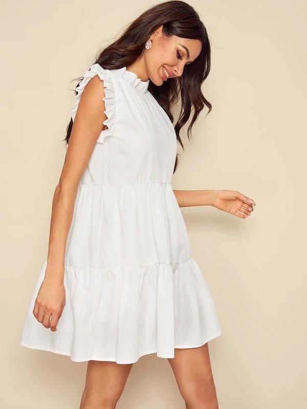 Solid Frill Trim Layered Hem Dress
