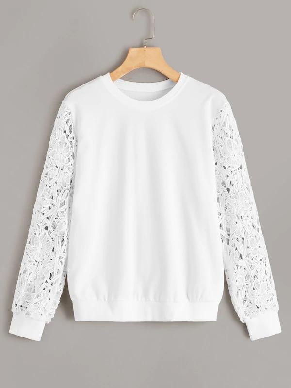 Solid Guipure Lace Sleeve Pullover