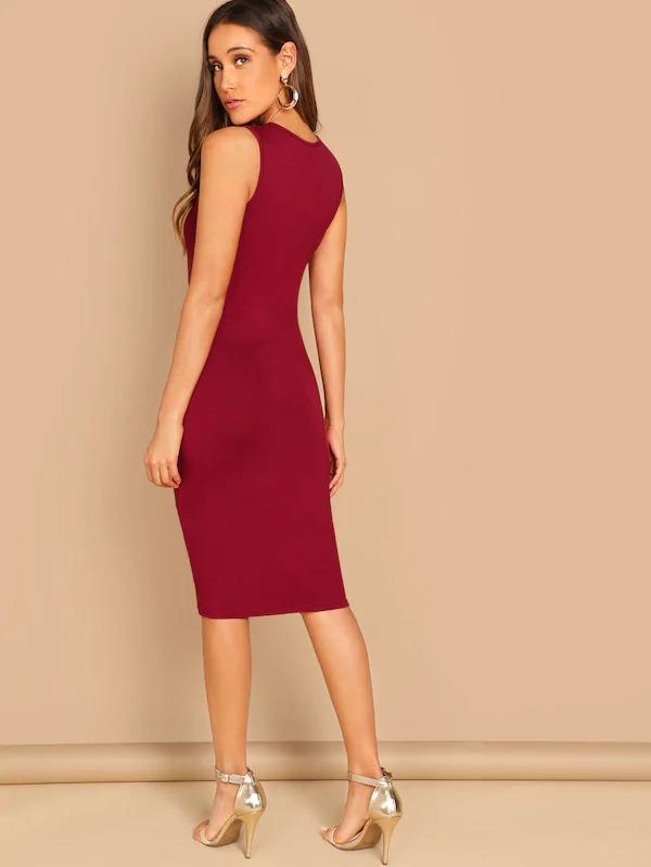 Solid Jersey Knit Pencil Dress