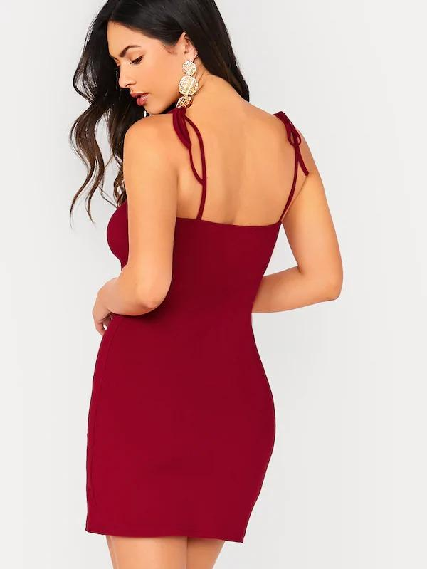 Solid Knot Strap Fitted Dress