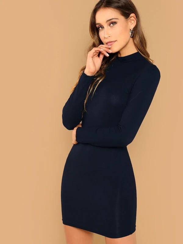 Solid Mock Neck Bodycon Dress