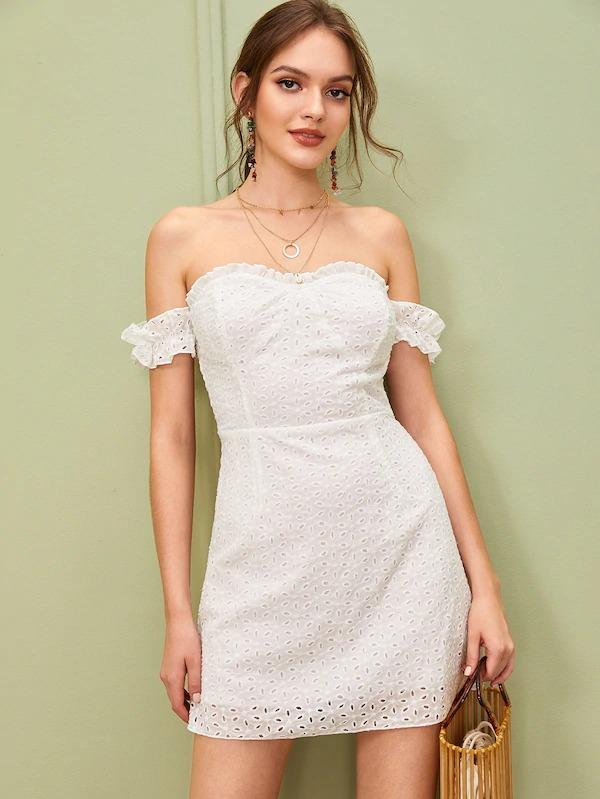 Solid Off Shoulder Frill Trim Schiffy Dress