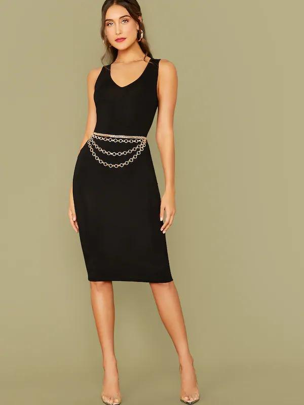 Solid Pencil Dress Without Chain Belt